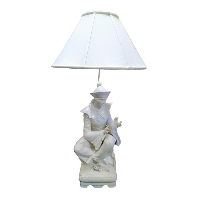 Rare Vintage Monumental Italian Ceramic St Francis of Assisi White Massive Table Lamp For Sale