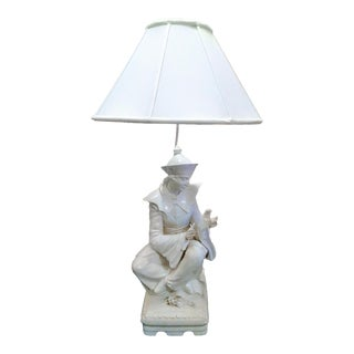 Vintage Italian Ceramic St Francis of Assisi White Massive Table Lamp For Sale