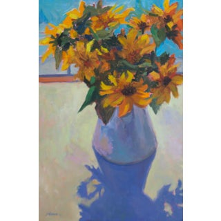"""Sunflowers and Shadows"" Contemporary Floral Still Life Oil Painting For Sale"