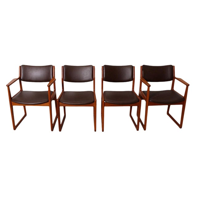 Set of 4 Danish Teak Sleigh Leg Chairs in Teak with New Upholstery For Sale