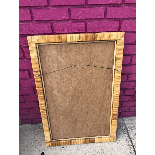 Vintage Rectangular Bamboo and Rattan Wall Mirror For Sale In Miami - Image 6 of 7