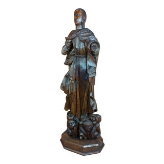 17th Century Antique French Carved Oak Santo Figure For Sale