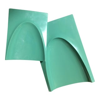 1960s Gaylord Mid-Century Aqua Plastic Bookends - A Pair