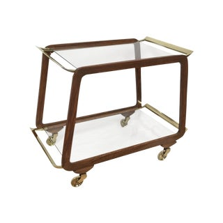 Mid-Century Austrian Walnut & Brass Trolly Cart