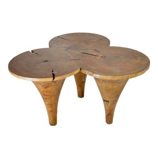 Boho Chic Natural Finish 3-Legged 'Butterfly' Accent Table For Sale