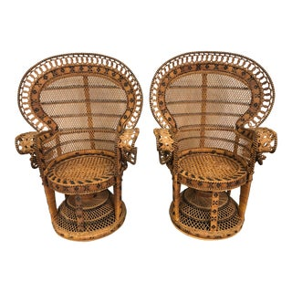 Vintage 20th Century Wicker Child's Fan Chairs- a Pair For Sale