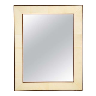 Custom Parchment Framed Mirror With Mahogany Frame For Sale