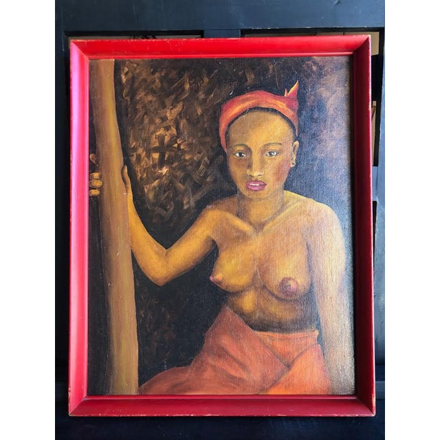1970s Vintage Topless Woman Portrait Red Framed Painting For Sale In Seattle - Image 6 of 6