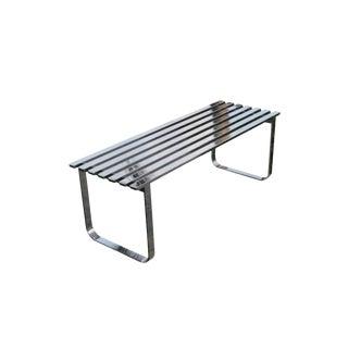 Vintage Hollywood Regency Milo Baughman Steel Chrome Slat Bench For Sale