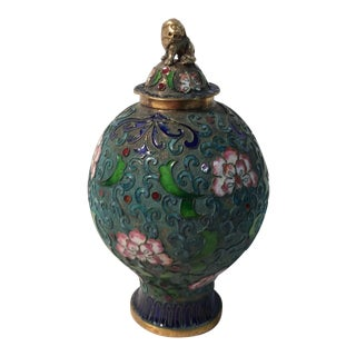 Antique Chinese Enameled Covered Vase For Sale
