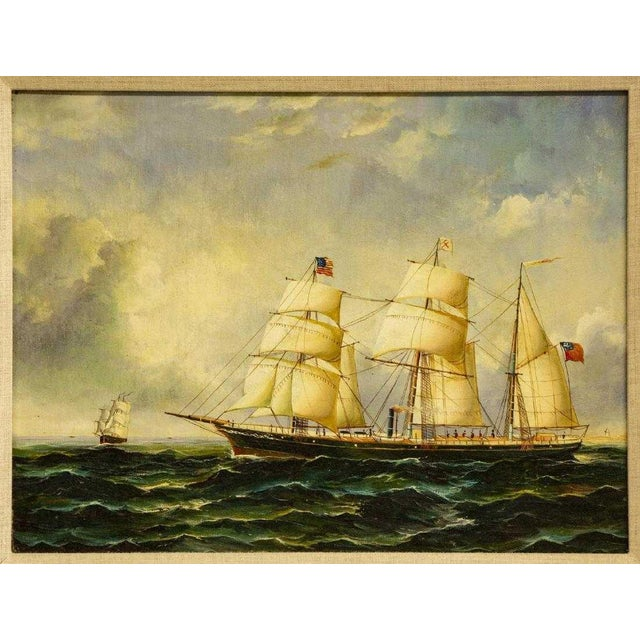 """Wonderful oil painting of clipper ships. Framed painting from the 20th c., unsigned. 11.5""""h, 15.5""""w, overall: approx 16""""h,..."""