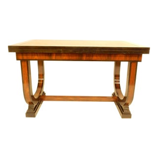 Elegant Art Deco Leather Top Table With Extensions For Sale