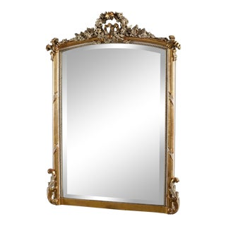 19th Century Louis XVI Style Crested Mirror For Sale