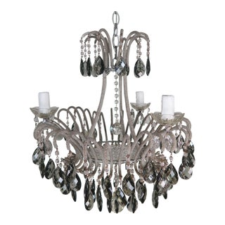 Italian Smoked Grey Crystal Beaded Waterfall Chandelier For Sale