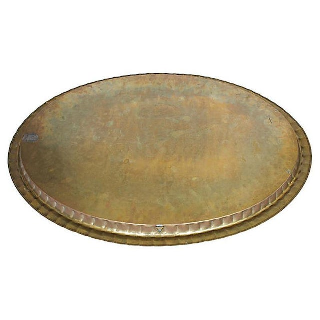 """Mid-Century 30"""" Moroccan Brass Tray For Sale - Image 4 of 6"""