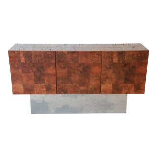 Milo Baughman Patchwork Burl Wood and Chrome Sideboard Credenza For Sale