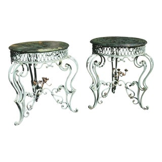 Vintage French Wrought Iron Tables Attributed to Renee Drouet - a Pair For Sale