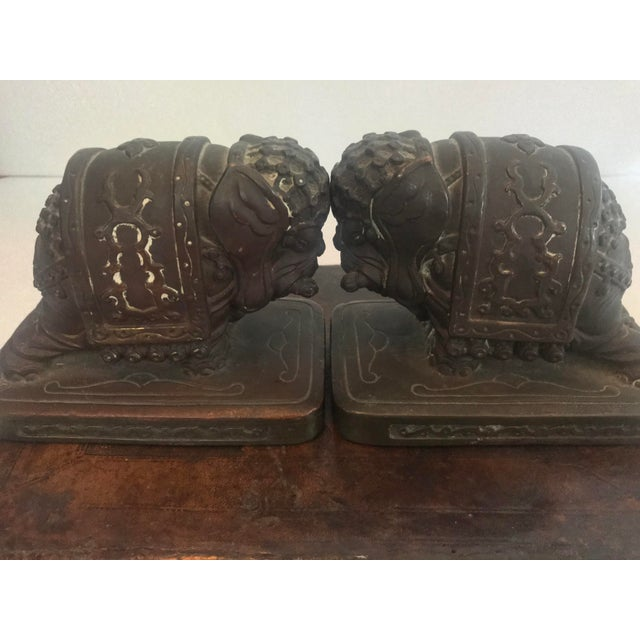 From a local Los Angeles estate, these elephant bookends were made circa 1920 by the Armor Bronze Company out of New York...