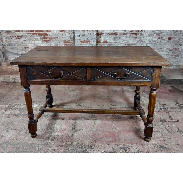 """Spanish Revival Writing or Dining Table w/2 drawers size 52 x 31 x 31"""" distressed Spanish revival writing table"""