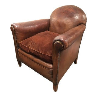 1920s Vintage Leather French Armchair For Sale