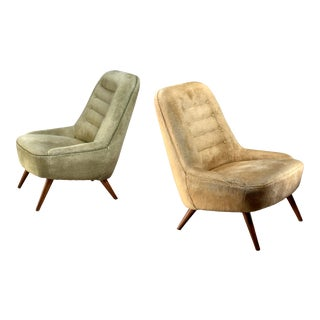 Pair of German Velour Club Chairs, 1950s For Sale