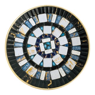 Circular Vintage Blue Mosaic Tile Tray For Sale