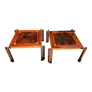 "1970s Vintage Paola Barachio ""Roman Deco Spa"" Style End Tables - A Pair"