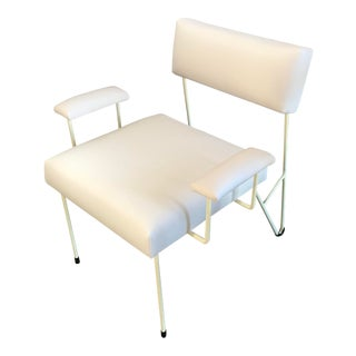 Alex Outdoor Lounge Chair, White Upholstered Sunbrella with White Powder Coated Stainless Steel Base For Sale