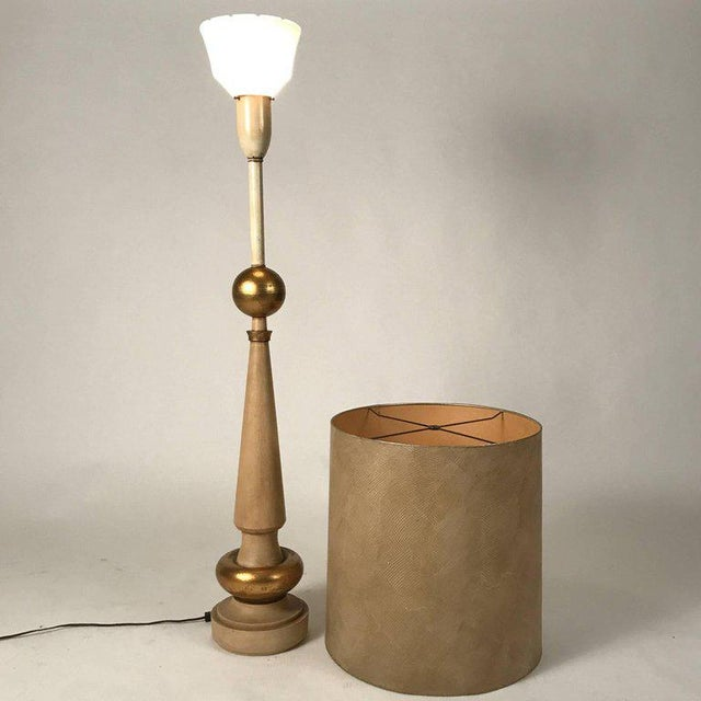 Hollywood Regency Monumental 1950s, Regency Torchiere Lamp in the Manner of James Mont For Sale - Image 3 of 6