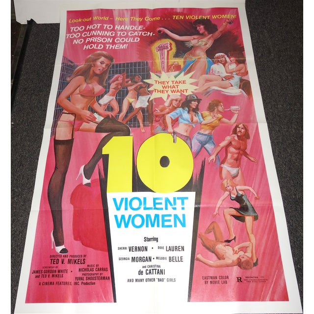 """Vintage Movie Poster, Cult 'B' Movie """"10 Violent Women"""""""" Circa 1982. New. Rare. Wonderful Extra Campy Piece. No Others Like This One. For Sale - Image 9 of 9"""