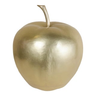 Apple - Brass by Robert Kuo, Hand Repousse, Limited Edition For Sale