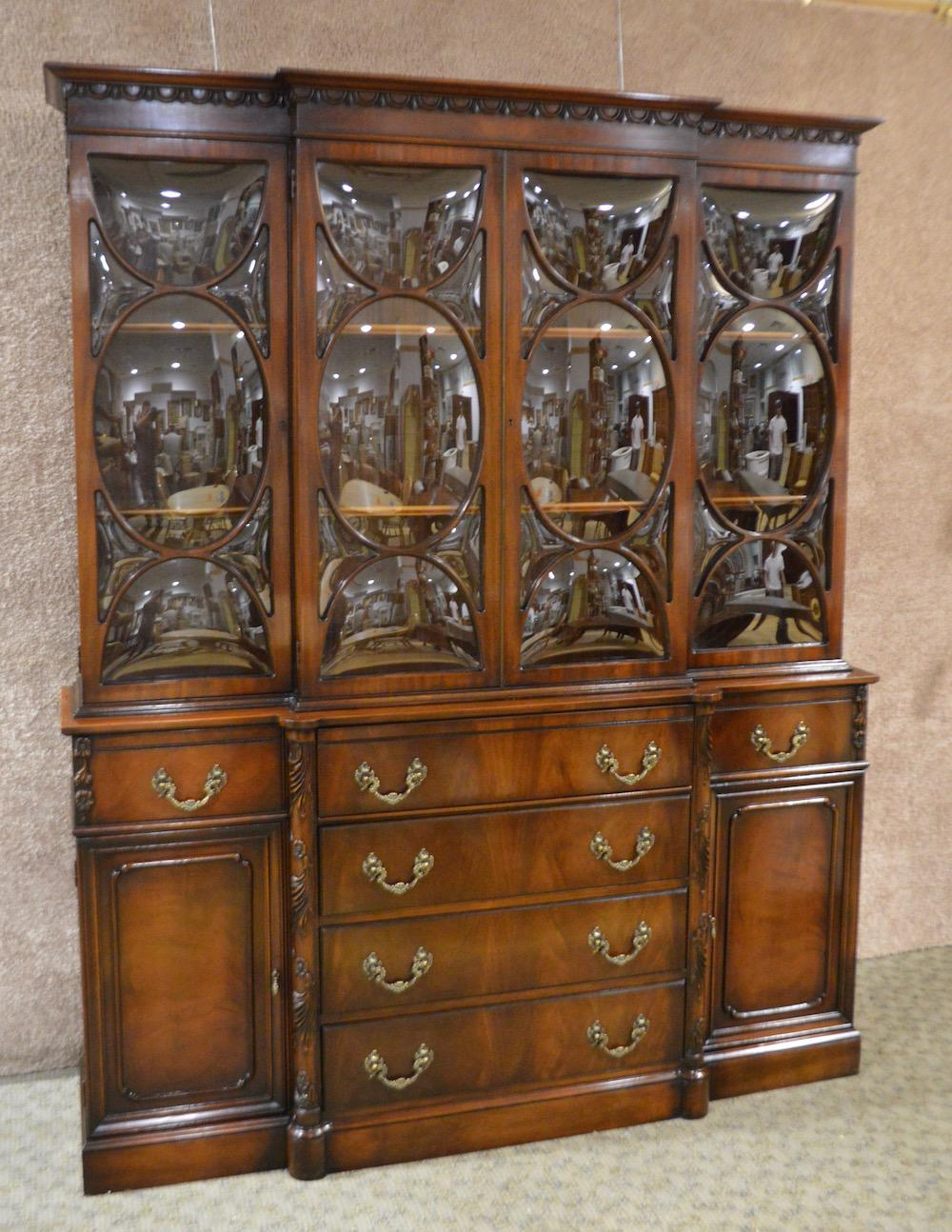 Vintage Regency Two Piece Mahogany China Cabinet W/Butlers Desk U0026 Bubble  Glass   Image