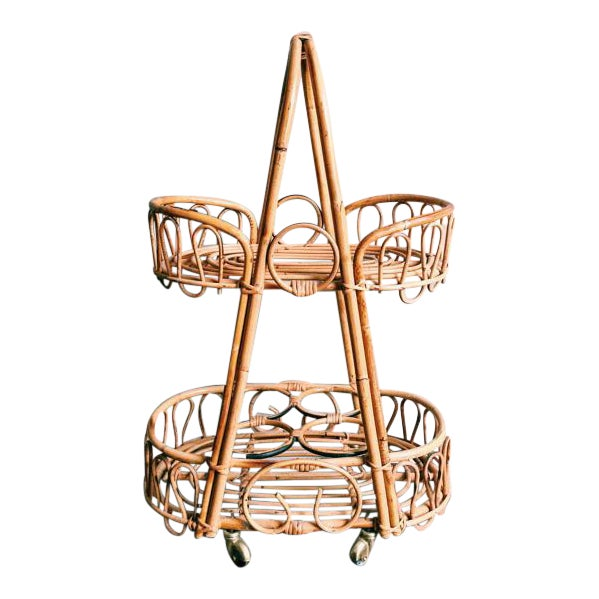 Vintage Rosenthal Netter Bamboo & Rattan Bar Cart For Sale