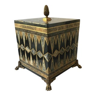 Maitland Smith Inlaid Marble and Brass Box For Sale