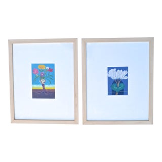 Chinese Flower Botanical Framed Watercolor Paintings Signed - a Pair For Sale