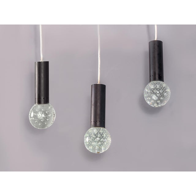 Priced individually. Italian modern Bubble Pendant Lamps by Gino Sarfatti in collaboration with artisan Archimede Seguso...