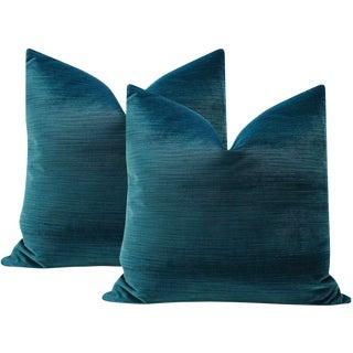 "16"" Strie Velvet Harbour Blue Pillows - a Pair For Sale"