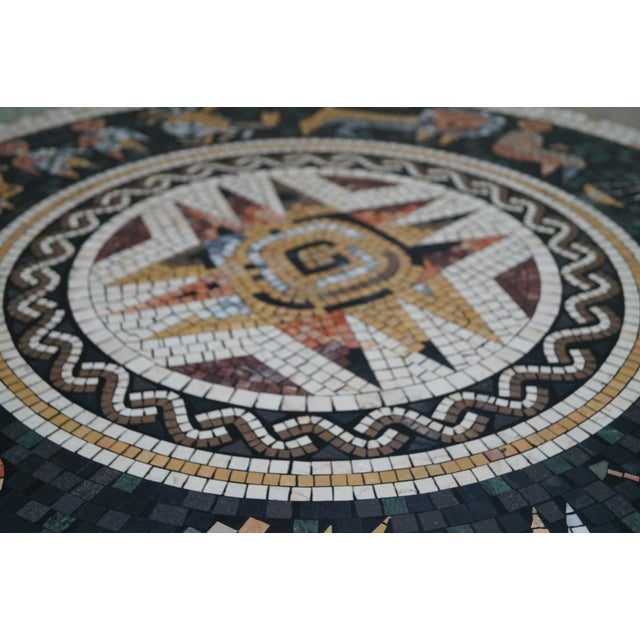 Horoscope Mosaic Stone Tile Pedestal Coffee Table For Sale - Image 5 of 10