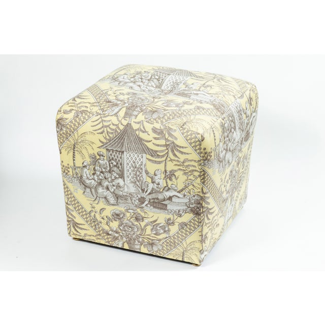 Chinoiserie 0f Chinoiserie Toile Ottomans - a Pair For Sale - Image 3 of 10