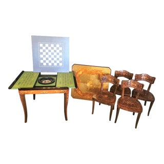 Italian Inlaid Wood Game Table & Chairs For Sale