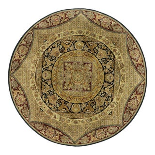 Vintage Indian Round Area Rug, Circular Rug - 10'01 X 10'02 For Sale