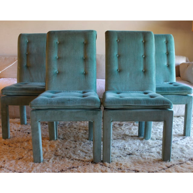 1970s Mid Century Modern Tufted Teal Green Velvet Parsons Dining Chairs Milo Baughman Style - Set of 4 For Sale In San Diego - Image 6 of 13