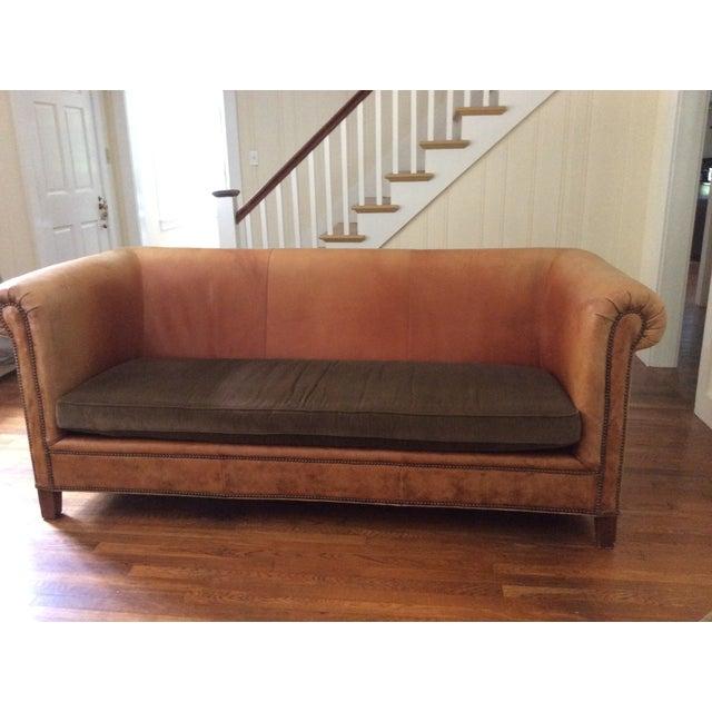 Used Ralph Lauren Furniture: Ralph Lauren Brompton Leather Corduroy Sofa