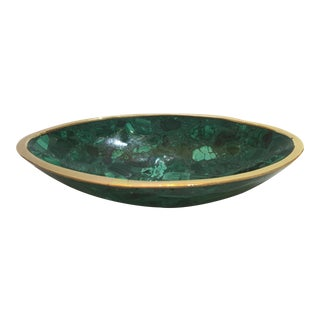 Oval Form Malachite and Brass Dish For Sale