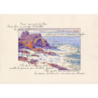 "1920 ""Rocky Shoreline - Coast of France"" Pochoir Lithograph by Georges Pierre Guinegault For Sale"
