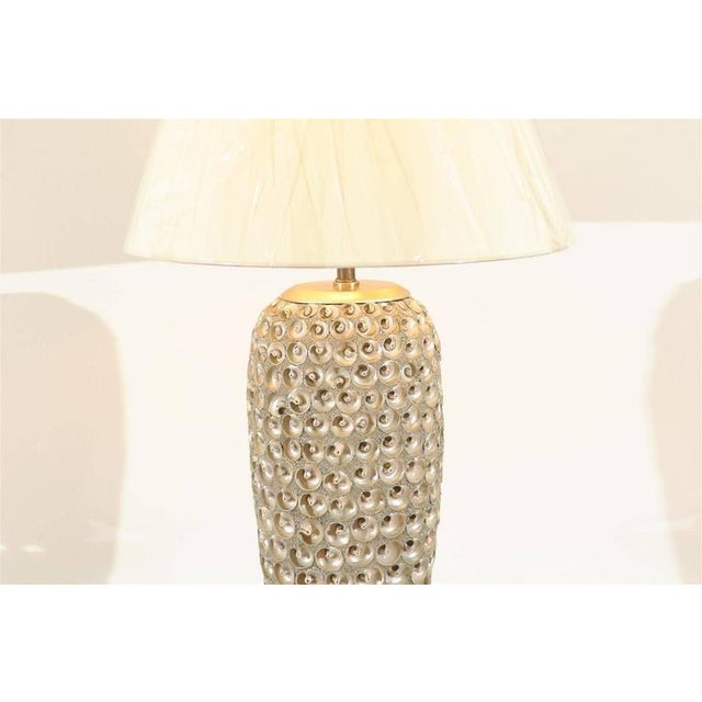 Modern Pair of Modern Large-Scale Shell Lamps with Lucite and Silver Leaf Accents For Sale - Image 3 of 8