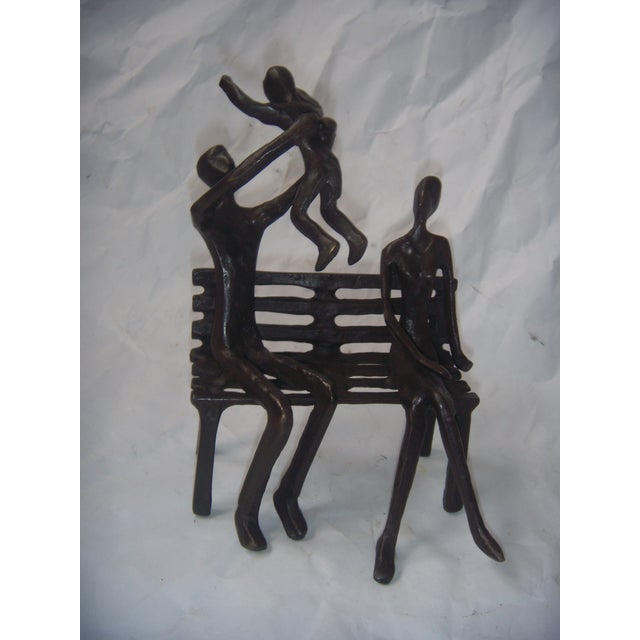Family on Bench Bronze Sculpture - Image 2 of 8