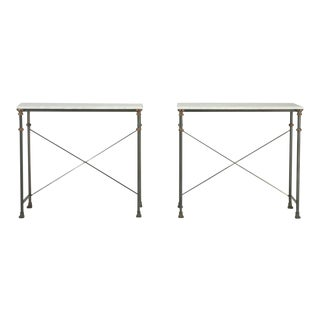 Old Plank Stainless Steel Bronze and Carrera Marble Console Tables - a pair For Sale