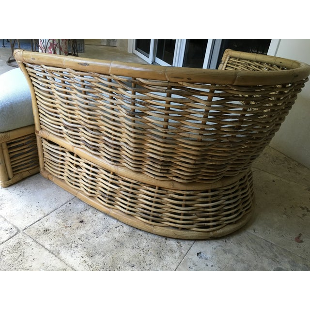 1990s Vintage Rattan Lounger and Ottoman For Sale - Image 5 of 7
