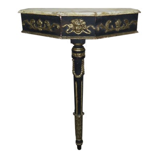 French Louis XVI Style Painted & Silver Gilt Console For Sale